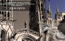 la cathédrale et le roi gradlon et une gargouille de la cathédrale saint corentin à quimper